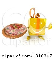 Clipart Of A 3d Happy Yellow Gift Character Holding Up A Thumb And A Pizza Royalty Free Illustration