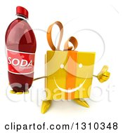 Clipart Of A 3d Happy Yellow Gift Character Holding Up A Thumb And A Soda Bottle Royalty Free Illustration