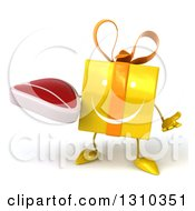 Clipart Of A 3d Happy Yellow Gift Character Shrugging And Holding A Beef Steak Royalty Free Illustration