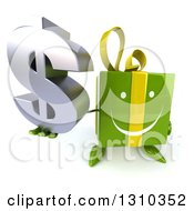 Clipart Of A 3d Happy Green Gift Character Holding Up A Dollar Symbol Royalty Free Illustration