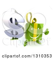 Clipart Of A 3d Happy Green Gift Character Holding Up A Thumb And A Dollar Symbol Royalty Free Illustration