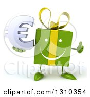 Clipart Of A 3d Happy Green Gift Character Holding A Thumb Up And A Euro Symbol Royalty Free Illustration