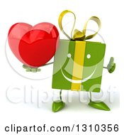 Clipart Of A 3d Happy Green Gift Character Holding A Thumb Up And A Heart Royalty Free Illustration