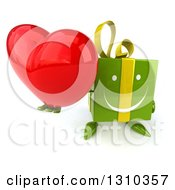 Clipart Of A 3d Happy Green Gift Character Holding Up A Heart Royalty Free Illustration