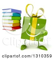 Clipart Of A 3d Happy Green Gift Character Holding And Pointing To A Stack Of Books Royalty Free Illustration