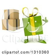 Clipart Of A 3d Happy Green Gift Character Holding Up A Finger And Boxes Royalty Free Illustration