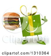 Clipart Of A 3d Happy Green Gift Character Holding Up A Finger And A Double Cheeseburger Royalty Free Illustration