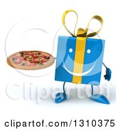 Clipart Of A 3d Happy Blue Gift Character Holding A Pizza Royalty Free Illustration