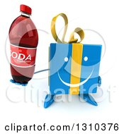 Clipart Of A 3d Happy Blue Gift Character Holding Up A Soda Bottle Royalty Free Illustration
