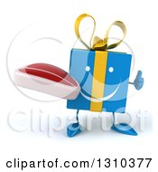 Clipart Of A 3d Happy Blue Gift Character Holding A Thumb Up And A Beef Steak Royalty Free Illustration