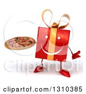 Clipart Of A 3d Happy Red Gift Character Shrugging And Holding A Pizza Royalty Free Illustration