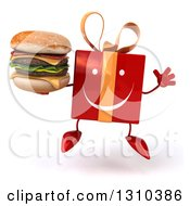 Clipart Of A 3d Happy Red Gift Character Jumping And Holding A Double Cheeseburger Royalty Free Illustration
