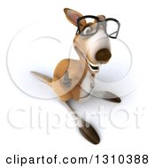 Clipart Of A 3d Bespectacled Kangaroo Smiling And Holding A Thumb Up Royalty Free Illustration