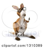 Clipart Of A 3d Bespectacled Kangaroo Holding Up A Finger Royalty Free Illustration