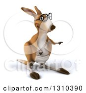 Clipart Of A 3d Bespectacled Kangaroo Pointing To The Right Royalty Free Illustration