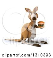 Clipart Of A 3d Kangaroo Facing Right Holding And Pointing To A Double Cheeseburger Royalty Free Illustration
