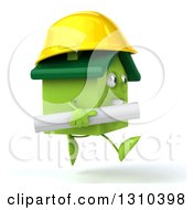 Clipart Of A 3d Happy Green House Character Contractor Running To The Right With Blueprints Royalty Free Illustration