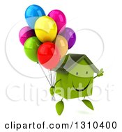 Clipart Of A 3d Happy Green House Character Facing Slightly Right Jumping And Holding Party Balloons Royalty Free Illustration