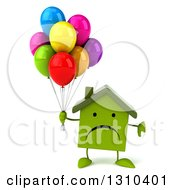Clipart Of A 3d Unhappy Green House Character Holding A Thumb Down And Party Balloons Royalty Free Illustration