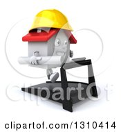 Clipart Of A 3d Happy White House Character Contractor Running On A Treadmill Facing Right Royalty Free Illustration