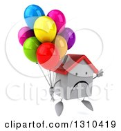 Clipart Of A 3d Unhappy White House Character Facing Slightly Right And Jumping With Party Balloons Royalty Free Illustration