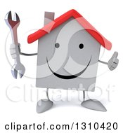 Clipart Of A 3d Happy White House Character Holding A Thumb Up And A Wrench Royalty Free Illustration
