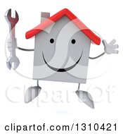 Clipart Of A 3d Happy White House Character Jumping And Holding A Wrench Royalty Free Illustration