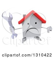 Clipart Of A 3d Unhappy White House Character Holding Up A Thumb Down And A Wrench Royalty Free Illustration