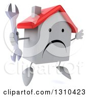 Clipart Of A 3d Unhappy White House Character Facing Slightly Right Jumping And Holding A Wrench Royalty Free Illustration