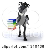 Clipart Of A 3d Bespectacled Black Horse Holding A Stack Of Books Royalty Free Illustration