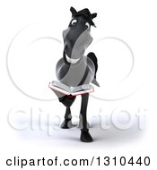 Clipart Of A 3d Black Horse Reading A Book Royalty Free Illustration