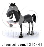 Clipart Of A 3d Black Horse Facing Left And Reading A Book Royalty Free Illustration
