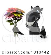 Clipart Of A 3d Black Horse Holding A Bouquet Of Flowers Over A Sign Royalty Free Illustration
