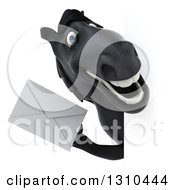 Clipart Of A 3d Black Horse Holding An Envelope Around A Sign Royalty Free Illustration