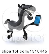 Clipart Of A 3d Black Horse Running Slightly Right And Talking On A Smart Cell Phone Royalty Free Illustration