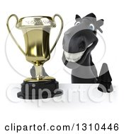 Clipart Of A 3d Black Horse Holding A Trophy Over A Sign Royalty Free Illustration