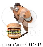 Clipart Of A 3d Brown Horse Holding A Double Cheeseburger Around A Sign Royalty Free Illustration