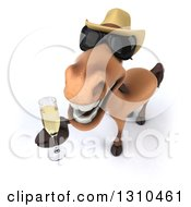 Clipart Of A 3d Brown Cowboy Horse Wearing Sunglasses And Toasting With Champagne Royalty Free Illustration by Julos