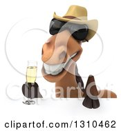 Clipart Of A 3d Brown Cowboy Horse Wearing Sunglasses And Toasting With Champagne Over A Sign Royalty Free Illustration by Julos