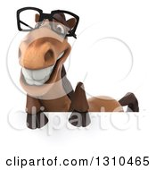 Clipart Of A 3d Bespectacled Brown Horse Smiling Over A Sign Royalty Free Illustration