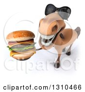 Clipart Of A 3d Brown Horse Wearing Sunglasses And Holding Up A Double Cheeseburger Royalty Free Illustration