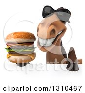Clipart Of A 3d Brown Horse Wearing Sunglasses And Holding A Double Cheeseburger Over A Sign Royalty Free Illustration