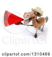 Clipart Of A 3d Brown Cowboy Horse Facing Left And Announcing Upwards With A Megaphone Royalty Free Illustration by Julos