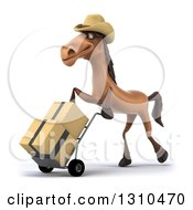 Clipart Of A 3d Brown Cowboy Horse Moving Boxes On A Dolly Royalty Free Illustration by Julos