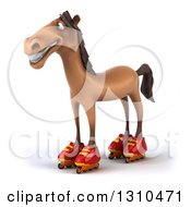 Clipart Of A 3d Brown Horse Facing Slightly Left And Wearing Roller Blades Royalty Free Illustration