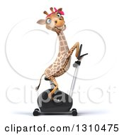 Clipart Of A 3d Female Giraffe Exercising On A Spin Bike Facing Right Royalty Free Illustration