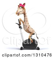 Clipart Of A 3d Female Giraffe Exercising On A Spin Bike Facing Left Royalty Free Illustration