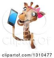 Clipart Of A 3d Female Giraffe Talking On A Smart Cell Phone Over A Sign Royalty Free Illustration by Julos