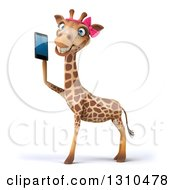 Clipart Of A 3d Female Giraffe Facing Left Smiling And Holding A Smart Cell Phone Royalty Free Illustration by Julos