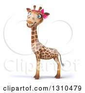 Clipart Of A 3d Female Giraffe Facing Left And Smiling At The Viewer Royalty Free Illustration by Julos
